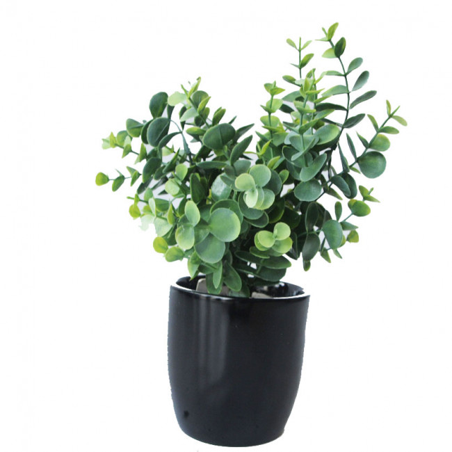 NWTURF ARTIFICIAL EUCALYPTUS BUSH 36CM COMPLETE IN FIBREGLASS POT