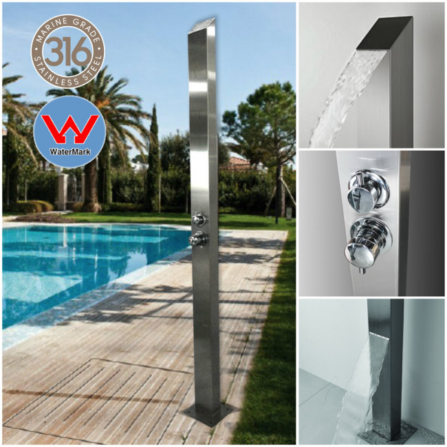 Silver Toorak, 316 MARINE GRADE STAINLESS STEEL WATERMARK REGISTERED   OUTDOOR/INDOOR SHOWER !