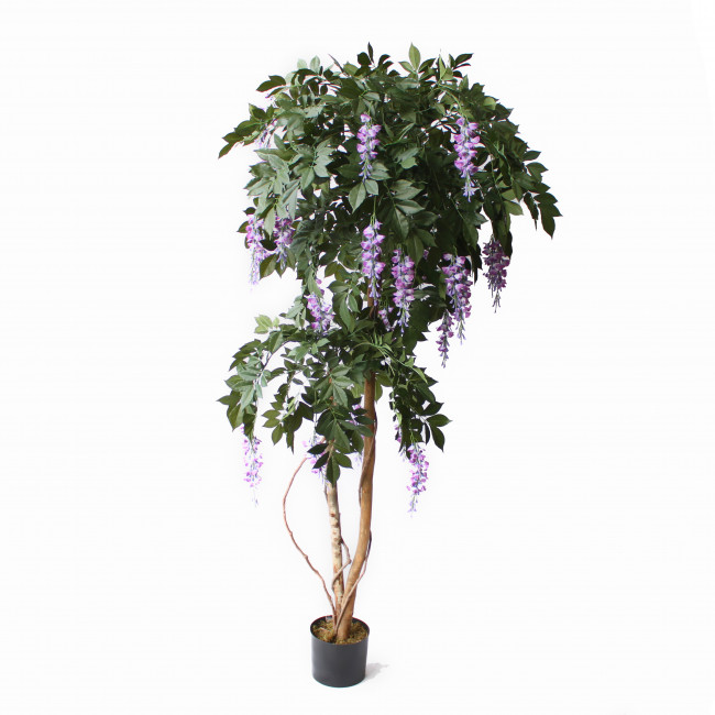 NWTURF ARTIFICIAL WISTERIA TREE 1.8M WITH 2000 LEAVES TIMBER TRUNKS