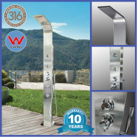 (  Pre-Sale ETA Mid -January)   Brighton  Silver 316 Marine Grade Watermarked Brighton Stainless Steel Outdoor Indoor Massage Shower
