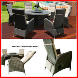 RECLINING 7 PIECE WICKER OUTDOOR SETTING MCKIN