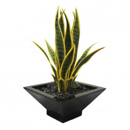ARTIFICIAL MOTHER IN LAWS TONGUE PLANT 58CM UV STABILISED COMPLETE IN FIBREGLASS POT